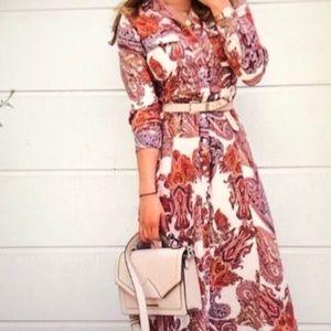 Zara Woman Paisley Button Down Shirt Dress